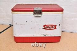 Vintage Portable Coleman Coca Cola Cooler Ice Chest White W RED Emblem 18 RARE