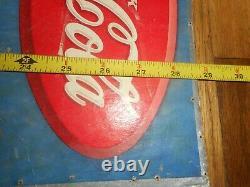 Vintage RARE 1937 DRINK COCA COLA COKE PINUP GIRL Advertising Cardboard SIGN