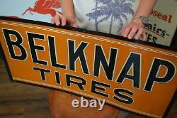 Vintage RARE BELKNAP TIRES SIGN early Service Dealer advertising Gas Station