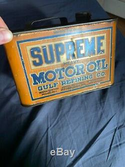 Vintage RARE Clean Early Gulf Refining Supreme Motor Oil One Gallon Oil Can