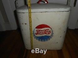 Vintage RARE DOUBLE Dot Pepsi SUPERIOR JR 6 Pack Bottle Cap Advertising Cooler