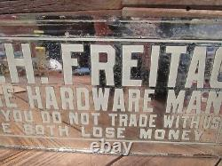 Vintage RARE H. H. FREITAG THE HARDWARE MAN Mirror Glass Sign