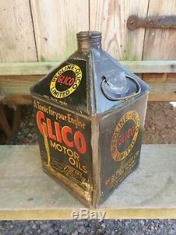 Vintage REDLINE GLICO 1 Gallon Motor Oil Can Tin Rare Garage Automobilia