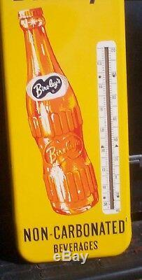 Vintage Rare 10inX26in Bireleys Orange Soda Pop Metal Thermometer Sign With Bottle