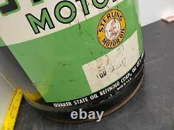 Vintage Rare 5 Gal Sterling Motor Oil Co Can Gas Quaker State 1930's Graphics