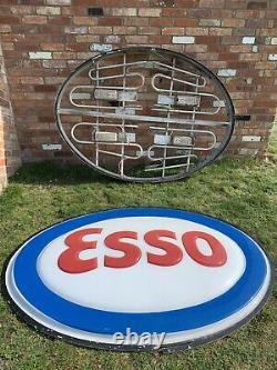 Vintage Rare 6ft Huge Esso Light Up Neon Sign Petrol Pump Garage Forecourt Old