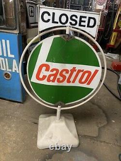Vintage Rare Castrol Spinner Sign Open Closed Garage Mancave Advertising GTX Oil