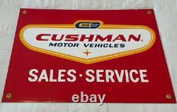 Vintage Rare Cushman Motor Vehicles Porcelain Sign Gas Oil Doodlebugs Scooter