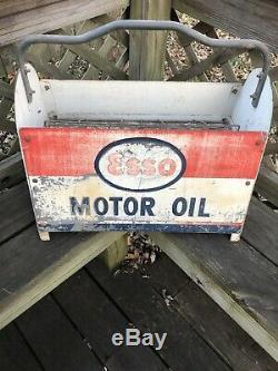 Vintage Rare HTF Esso Motor Oil Bottle Rack Carrier Gas Oil Soda