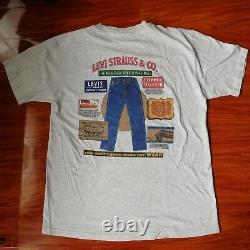 Vintage Rare LEVI Strauss & Co. LEVIS Jeans Advertising BIG E SHIRT USA Large