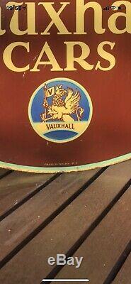 Vintage Rare Original VAUXHALL CARS enamel Sign