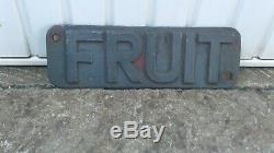 Vintage Rare Railway Fruit Wagons Cast Iron Sign (not Enamel) Original/heavy