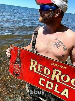 Vintage Rare Red Rock Cola Soda Pop Metal Sign 30X12