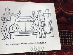 Vintage Rare Sales Brochure Volkswagen VW Beetle Coloring Book From Dealer 1965