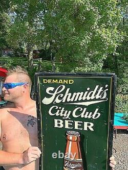 Vintage Rare Schmidt City Club Mellow Dry Beer Brewery Vertical Metal Sign 55x19