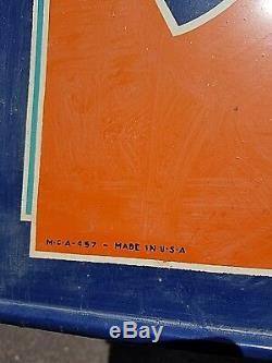 Vintage Rare Sun Crest Orange Soda Pop Metal Sign With Bottle Graphics 30inX12in