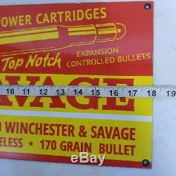 Vintage Savage Bullets Porcelain Sign. 30-30 Winchester Smokeless Remington Rare