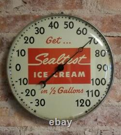 Vintage Sealtest Ice Cream Thermometer Sign Pam Clock Corp. Dairy Products RARE