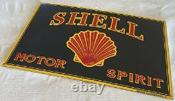 Vintage Shell Gasoline Porcelain Sign Gas Service Station Motor Oil Spirit Rare