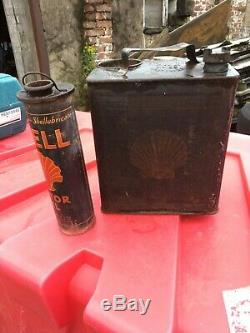 Vintage Shell Oil & Shell Petrol Can Duel Circa 1930 Very Rare Collectable