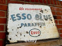 Vintage Sign Double Sided Enamel Esso Blue Paraffin Rare Great Patina