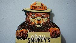 Vintage Smokey Bear Porcelain Metal Us Forest Service Fire Gas Oil Sign Rare Ad