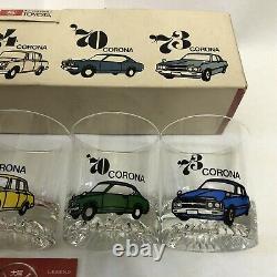 Vintage Toyota Corona 20th Anniversary Glassware Cups Rare 57 60 64 70 73 JDM