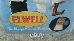 Vintage Very Rare Elwell Tools Pictoral Ally/metal Sign(not Enamel) Original