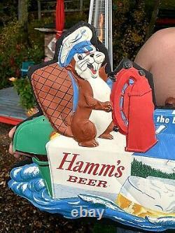 Vintage Very Rare Hamms Beer Boat Case Water Scene Vacuform Bear & Friends Sign