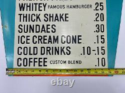 Vintage Very Rare Hard To Find White Tower Metal Restaurant Menu Sign Vgc