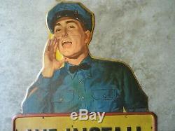 Vintage WALKER MUFFLER Service Station Attendant Sign RARE