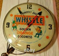 Vintage Whistle advertising clock sign-rare version with 2 elves