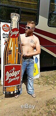 Vintage lg Rare Dicut Dodger Cola Beverage Soda Pop Metal Sign 65inX16 Iowa