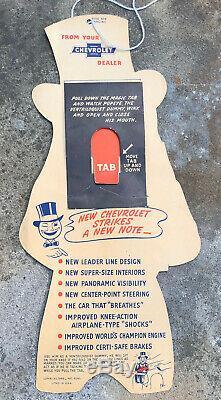 Vtg 1949 CHEVROLET GM Cardboard Advertising Sign 13 Popeye Pull Tab Action Rare