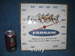 Vtg PAM CLOCK INC Farnam Horse/Farm Thermometer Advertising. Very Nice. RARE