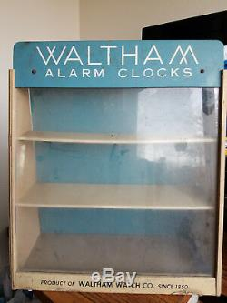 Waltham Alarm Clocks Store Display Antique Vintage Collectible Rare Wood Cabinet
